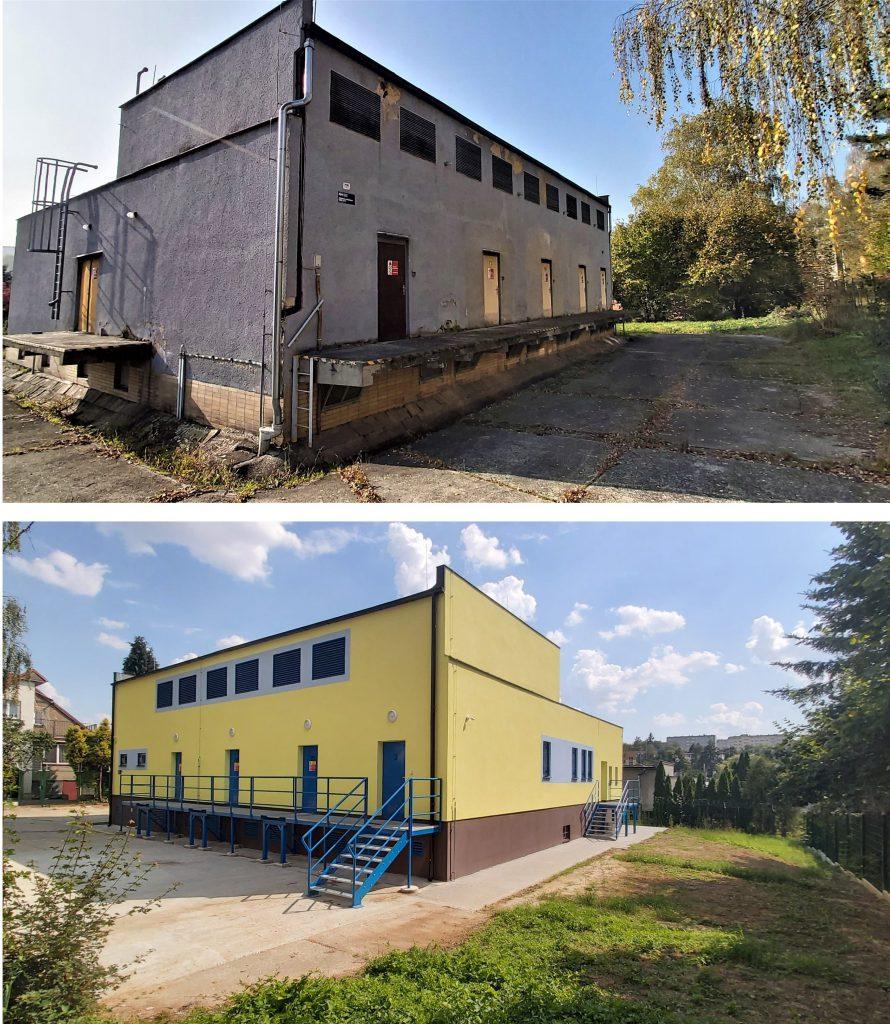 Budova trakční měnírny před/po rekonstrukci